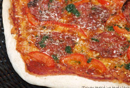 Image: Pizza à la Schakenda – med salami, parmesan og basilikumolje