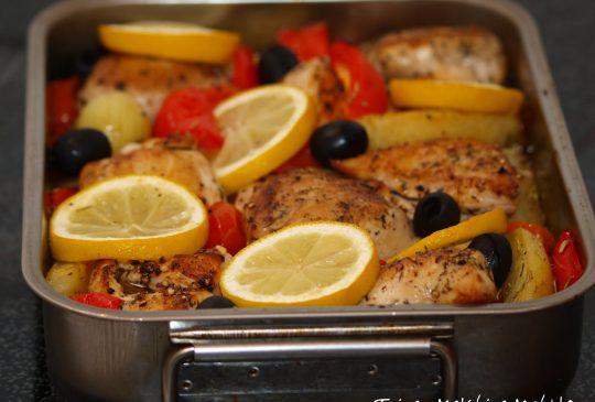 Image: Ovnsbakt kylling med sitron, paprika og oliven