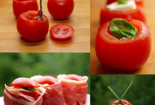 Image: Tomat med mozzarella, basilikum og parmaskinke