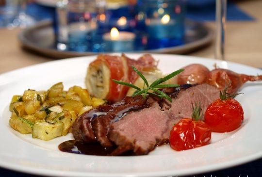 Image: Lammefilet med potetterrine og nydelig rødvinsaus