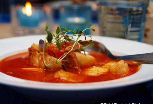 Image: Tomatsuppe med torsk og chorizo