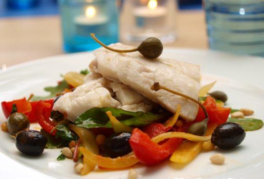 Image: Sitronbakt torsk på grønnsaksseng