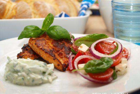 Image: Kylling med tomatsalat og tzatziki