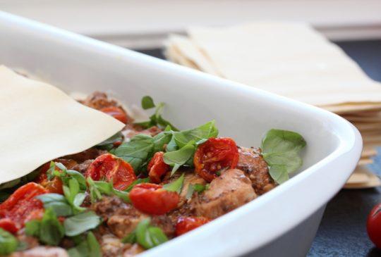 Image: Kylling- og olivenlasagne med konfiterte tomater