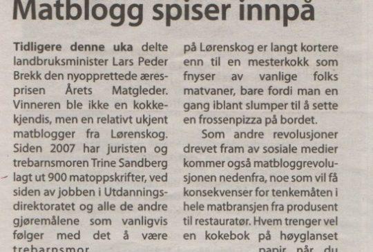 Image: Dagsavisen – Matblogg spiser innpå