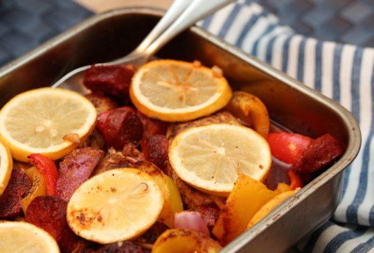 Image: Kyllingform med chorizo, paprika og sitron