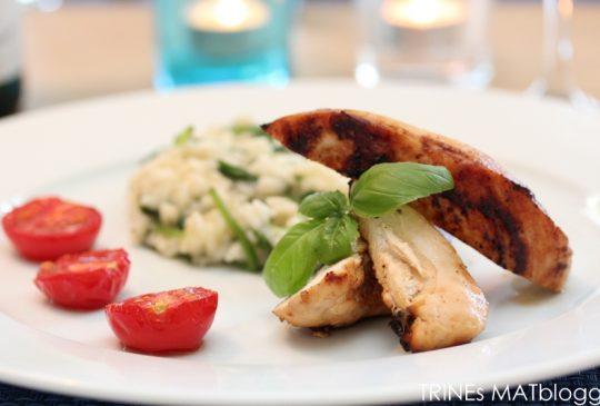 Image: Sitrusmarinert kylling med spinatrisotto og ovnsbakte tomater