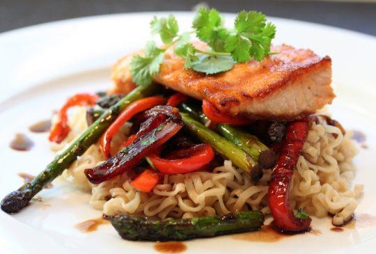 Image: Laks med wok og søt soyasaus på 1-2-3!