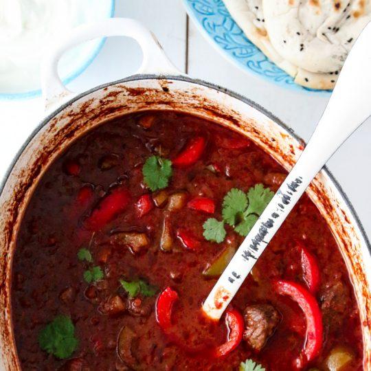 Image: Currygryte med oksekjøtt og paprika