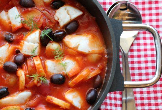Image: Torskegryte med paprika og sorte oliven